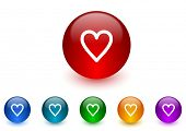heart internet icons colorful set