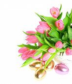 Pink Spring Tulip Flowers With Shiny Easter Eggs