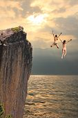 Two Cliff Jumping Girls, Coastal Landscape