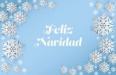 Feliz navidad message with snowflakes on blue background