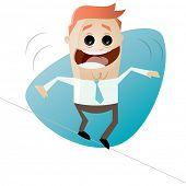 funny cartoon businessman on tightrope