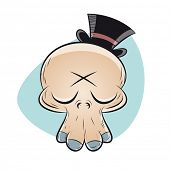 funny cartoon skull with top hat