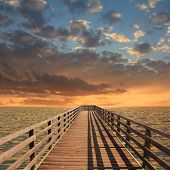 Wooden Landing Stage, Sunset Scenery