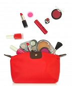 Various cosmetics coming out of a red bag isolated on white