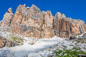 Sass Pordoi South Face (2952 M) In Gruppo Del Sella, Dolomites Mountains In Alps