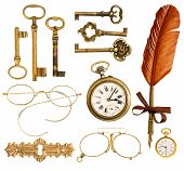 Set Of Vintage Accessories. Antique Keys, Clock, Ink Feather Pen, Glasses