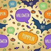 Seamless Halloween Pattern With Flying Bats And Text Bubbles.