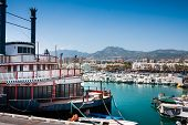 Benalmadena panorama and Vintage Mississipi Willow Steamer