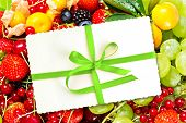 Gift Card With Fresh Fruits And Berries
