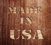 made in usa text on wood