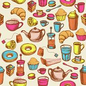 Seamless Hand Drawn Bright Pattern With Coffee And Tea Cups And Sweets