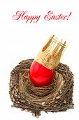 Red Easter Egg With Golden Crown Decoration