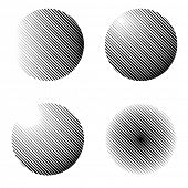 vector set of halftone spheres with linear raster