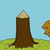 Tree Stump And Beaver