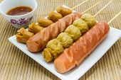 Thai Style Fried Sausage Sticks.