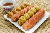 Thai Style Fried Sausage Sticks.