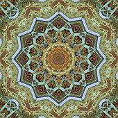 Old metallic, industrial, detailed kaleidoscope