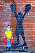 Street art Montreal boxer