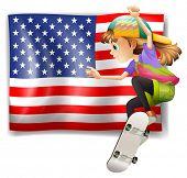 Illustration of a female skater near the USA flag on a white background