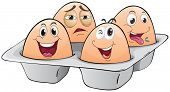 Illustration of an eggtray with four eggs on a white background