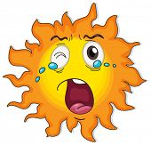 Illustration of a crying sun on a white background