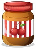 Illustration of a cherry jam on a white background
