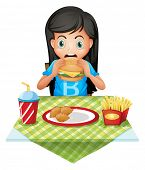 Illustration of a hungry girl eating at a fastfood restaurant on a white background