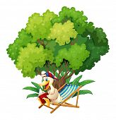 Illustration of a duck reading under the tree on a white background