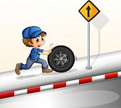 Illustration of a smiling mechanic pushing the tire on a white background