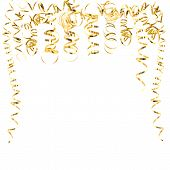 Golden Serpentine Streamers Isolated On White