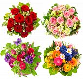 Set Of Colorful Flowers Bouquet For Birthday, Wedding