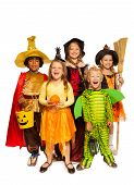 image of happy halloween  - Boys and girls in Halloween costume with broom - JPG