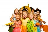 Funny kids in Halloween costumes