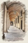 art watercolor background on paper texture with european antique town, Italy, Rome. Arcade of patio