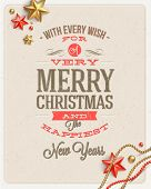 Christmas type design and holidays decoration on a cardboard background - vector illustration