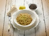 risotto with black tea and lemon peel