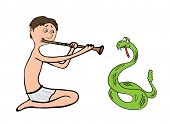 snake charmer, fakir vector illustration on white background
