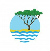 tree near the water, round vector logo illustration