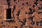 foto of brest  - Wall of Brest fortress damaged by splinters and bullets - JPG