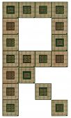 picture of microprocessor  - letter R  made of old and dirty microprocessors - JPG