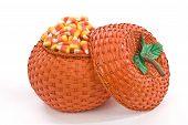 Pumpkin Basket Full Of Candy Corn