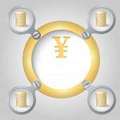 Golden Circular Frame For Text And Yen Symbol