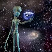 Alien ponders human brain Elements of this image furnished by NASA