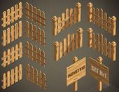 Vector set from three type isometric fence elements for design