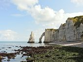 Natural Cliffs On Beach During Low Tide