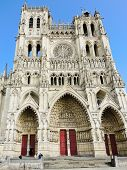 Front View Of Medieval Amiens Cathedral