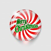 Glossy Button With Spiral And Text Merry Christmas