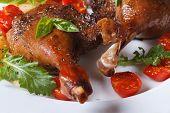 stock photo of roast duck  - roasted duck legs with tomato and arugula white plate macro horizontal - JPG