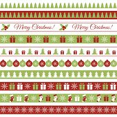 picture of snow border  - Vector seamless horizontal borders for Christmas design - JPG