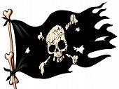 picture of skull crossbones flag  - Waving flag with jolly Roger - JPG